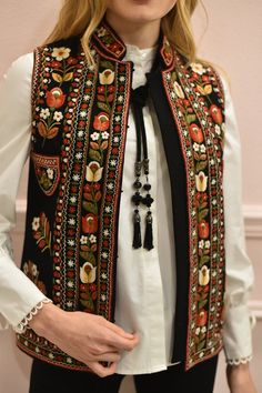 Embroidered vest hand made vest hand embroidery black short vest bohemian vest ethnic women vest warm short vest Embroidery Fashion, Vintage Embroidery, Hand Embroidery, White Peasant Blouse, Denim Maxi Dress, Bohemian Blouses, Wool Vest, Mode Boho, Black Vest