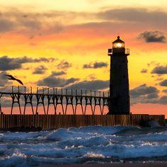 Manistee Michigan Lighthouse at Sunset