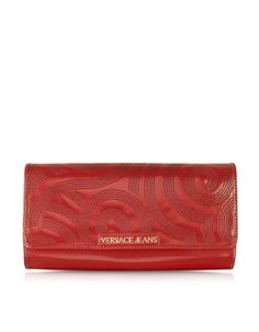 Versace Jeans Dark Red Patent Eco-Leather Large Clutch at FORZIERI