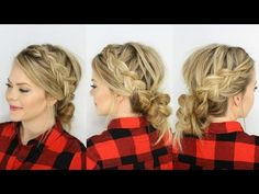 ▶ Two Dutch Braids & Low Messy Bun - YouTube