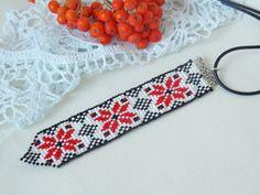 Beaded folk tie Boho tie Ethnic tie Beadwoven white tie Gift for teen girl…