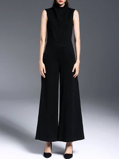 3154f34ebbda Black Sleeveless Plain Simple Jumpsuit Unique