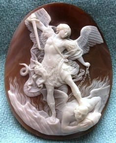 """St. Michael the Archangel Slaying the Devil  Material: Sardonyx Shell  Size: 2 18/32"""" by 2 2/32"""".  Date and Origin: Circa 1860 Italy."""