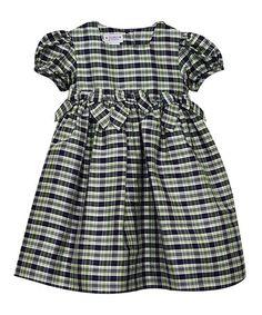 Loving this Navy Plaid Silk Dress - Infant, Toddler & Girls