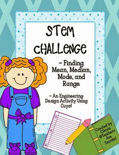 STEM Engineering Challenge: Finding the Mean, Median, Mode Math Classroom, Classroom Activities, Classroom Ideas, Math Enrichment, 5th Grade Math, Third Grade, Teaching Math, Math Teacher, Maths