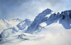 Hervé ESPINOSA Watercolor Landscape, Abstract Landscape, Watercolour Painting, Landscape Paintings, Abstract Art, Mountain Art, Mountain Landscape, Snow Mountain, Snow Scenes
