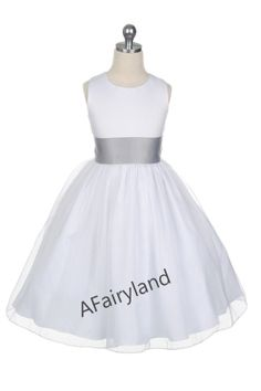 Ivory silver grey sash flower girl dress with tulle by AFairyland, $60.00