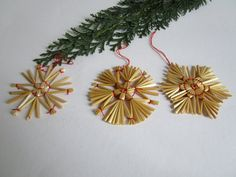 This listing is for this set of 36 pieces German vintage Christmas straw ornament stars  hand made from straw finished with red string to