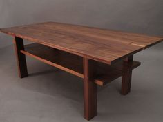Walnut Coffee Table with Storage Shelf Mid by MokuzaiFurniture, $1500.00