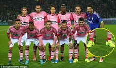 Juventus' Alvaro Morata (front row, right) ahead of the game - using different coloured ma...