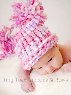 Knit Baby Hat  Pink Purple White with Pom Poms от inamooddesigns