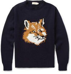 Maison Kitsuné Fox Knitted-Wool Sweater | MR PORTER