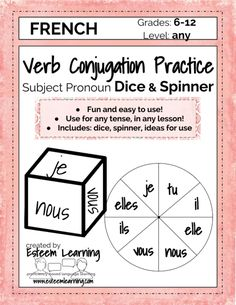- Subject Pronoun Dice & Spinner for Verb Conjugation Practice and Games - Spanish, French & Italian — Esteem Learning LLC Spanish Activities, Writing Activities, Learning Spanish, Spanish Games, Spanish Music, Teaching Resources, How To Speak French, Learn French, Verb Conjugation