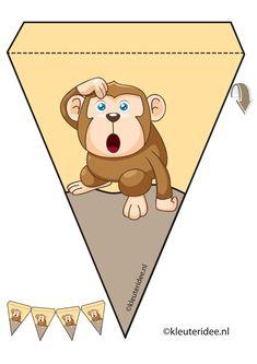 Aap slinger, thema dierentuin, juf Petra van kleuteridee, monkey guirlande, Preschool zoo theme, free printable. Safari Theme Birthday, Safari Party, Jungle Safari, Preschool Zoo Theme, First Week Of School Ideas, Snake Party, Safari Adventure, Paper Banners, Bible Crafts