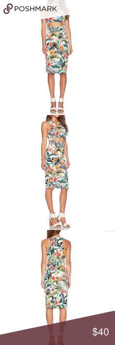 Cutout tropical dress🌴🌸 Cutout bodycon tropical print dress ,XS wayf Dresses Midi