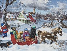 The new buss  www.paulinepaquin.com Hallmark Christmas, Christmas Time, Watercolor Art, Primitive, Cute Pictures, Original Paintings, Images, Winter, Artist