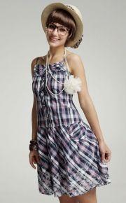 Plaid Ruffles Printing Spaghetti Straps Summer Dress