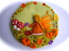 Autumn Fairy PicturetapestryWet feltedNeedle Felted. door FilzArts