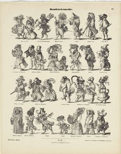 E. Ille | Honden-komedie, E. Ille, K. Braun en Fr. Schneider, C.R. Schurich, 1854 | Blad met 4 horizontale rijen met honden verkleed als theaterfiguren. Onder elke hond de naam van het personage. Genummerd midden onder: Nro. 66. Genummerd rechtsboven: 66.