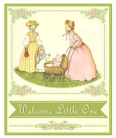 Free vintage baby shower printable sign #babyshower #vintage #printable #sign