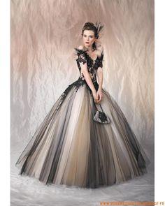 A-Ligne Princesse en col V noire Élégant Robe De mariée en tulle
