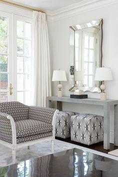 Custom Linen Drapes and Ottomans in Kelly Wearstler Katana Ivory/Ebony (Living Room Designed by Anne Hepfer)., $425.00 (http://store.lynnchalk.com/custom-linen-drapes-and-ottomans-in-kelly-wearstler-katana-ivory-ebony-living-room-designed-by-anne-hepfer/)
