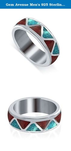 Gem Avenue Men's 925 Sterling Silver Turquoise and Coral Gemstone Southwestern Style 6mm Band. 6mm wide Turquoise and Coral Gemstone chip inlay Southwestern Style Ring. This band is made in .925 Sterling Silver. We carry this Ring in sizes 4 to 15. Finest Southwestern Style Jewelry Handcrafted in the USA. Ring will be shipped in a Free gift box making it easy for you to surprise your special someone. *This product is not Indian made or an Indian product under 25 U.S.C. 305 et. sec.