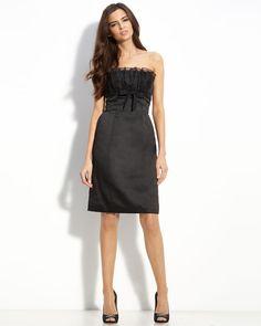 Strapless Knee-Length Satin Ruffles Little Black Dress #dress
