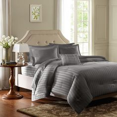 Madison Park 300 Thread Count Cotton Dobby Stripe 4-piece Comforter Set - Overstock™ Shopping - Great Deals on Madison Park Comforter Sets