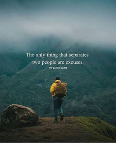 Positive Quotes : The only thing that separates two people are excuses. Positive Vibes Quotes, Motivational Quotes For Life, Meaningful Quotes, Daily Quotes, True Quotes, Words Quotes, Best Quotes, Inspirational Quotes, Sad Sayings