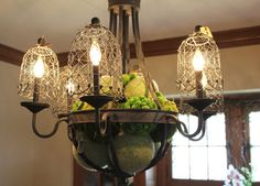 wire cloche as lamp shade.....The Spring 2015 Bachmans Ideas House Itsy Bits And Pieces