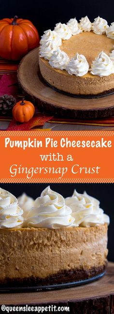 Rich and creamy pumpkin cheesecake paired with a spiced gingersnap crust! This i… Rich and creamy pumpkin cheesecake paired with a spiced gingersnap crust! This is the perfect dessert to enjoy after your Thanksgiving dinner. Tiramisu Dessert, Fall Desserts, Delicious Desserts, Dessert Recipes, Health Desserts, Dinner Recipes, Health Foods, Baking Recipes, Yummy Food
