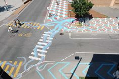Our design inspiration this week is the whimsical street art of Montreal-based artist, Roadsworth. We love it when an artist uses their creativity to turn the ordinary into the extraordinary. Tachisme, Art Public, Public Spaces, Pedestrian Crossing, Grand Art, Bilbao, Urban Street Art, Colossal Art, Paint Stripes