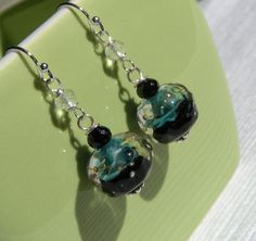 Caribbean Jet #Earrings by CloverBlueToo on Etsy, $28.00