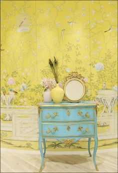 de Gournay, Beautiful Soft Look, but, There's Actually Life with the Yellow and Turquoise.