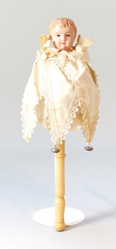 SCHILDKRÖT Marotte, Celluloid-Kopf auf Holzstiel, Modell: 1913, intakt