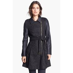 🚫sold🚫Bebe Black & Gold Coat🎀 Beautiful coat, worn maybe 3 times! Leather sleeves! bebe Jackets & Coats Pea Coats