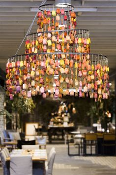 Autumn Tea bag chandelier created by eMh SPACE for Eco Outdoor #design #installation #colour #autumn #eMhSPACE #ecooutdoor