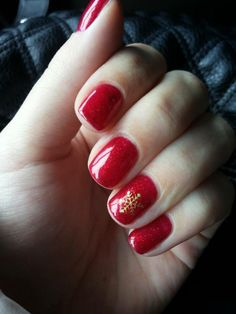 Red glitter Christmas nails