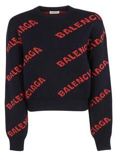 1067b0ab59 Balenciaga Logo Sweater - Navy Orange Balenciaga Shirt