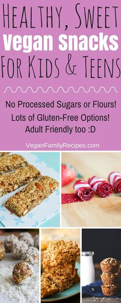 Healthy Vegan Snacks for Kids & Teens that taste like dessert without any processed sugars or flours. A lot of the snack recipes are also gluten-free. Perfect for giving your child a special treat wit