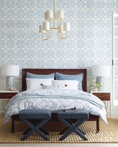 Guide To Discount Bedroom Furniture. Bedroom furnishings encompasses providing products such as chest of drawers, daybeds, fashion jewelry chests, headboards, highboys and night stands. Blue Gray Bedroom, Blue Rooms, White Bedroom, Master Bedroom, Bedroom Decor, Bedroom Ideas, Design Bedroom, Bedroom Bed, Dream Bedroom