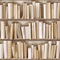 Papier peint Bibliothèque ivoire trompe l'oeil (Rouleau : 7,68 m)