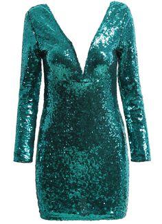 Vestido cuello pico lentejuelas manga larga-verde 22.09