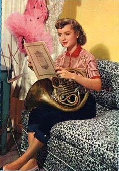 Debbie Reynolds with a french horn!