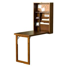 Found it at Wayfair - Frank Fold-Out Convertible Writing Desk with Shelves  I'd even add framed art to the legs to show.