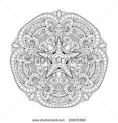 Vector Beautiful Deco Monochrome Contour Star, Patterned Design Element. Original Mandala with 5 Corners. Exotic Sea Fauna - stock vector