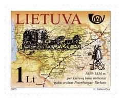 LITUANIA, 2005 Estampilla conmemorativa de la ruta postal San Petersburgo-Varsovia, que estuvo vigente entre 1830 y 1836. El mapa se refiere al tramo de esa ruta que cruzaba por el actual territorio lituano.