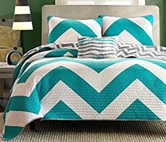 4 Pc Zig Zag Reversible Chevron Bedspread Quilt with Matching Shams and Cushion pillow - Aqua, Black, Pink (Teal/Grey) -   - http://homesegment.com/home-kitchen/4-pc-zig-zag-reversible-chevron-bedspread-quilt-with-matching-shams-and-cushion-pillow-aqua-black-pink-tealgrey-com/