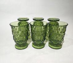 Green Whitehall Colony Glasses Set of 6, 60s Whitehall Colony Green Tumbler Water Glasses Mid-Century Drink Set Vintage Barware Juice Glass
